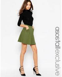 ASOS | Black Skater Skirt With Pockets | Lyst