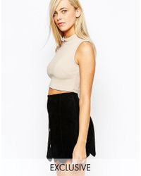 Fashion Union | Natural Jersey Rib Roll Neck Top | Lyst