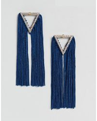 ASOS - Metallic Statement Jewel Triangle And Tassel Earrings - Lyst
