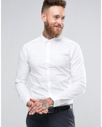 ASOS | Skinny Shirt In White With Button Down Collar And Long Sleeves for Men | Lyst