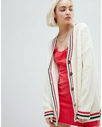 ASOS - White Asos Cardigan With Sports Tipping - Lyst