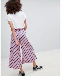 Bershka - Stripe Culotte In Pink - Lyst