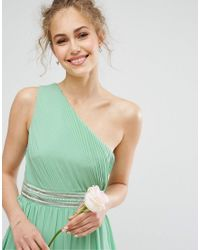TFNC London - Green One Shoulder Embellished Maxi Bridesmaid Dress - Lyst