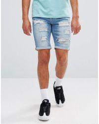 11 Degrees - Super Skinny Denim Shorts In Lightwash Blue for Men - Lyst