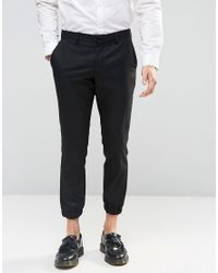 SELECTED | Black Cropped Skinny Fit Pants With Stretch And Cuffed Hem for Men | Lyst