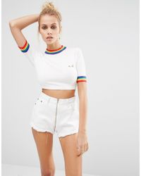 UNIF - White Rainbow Trim Cropped Knit Top - Lyst