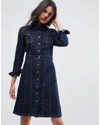 2b4399ad9e Lyst - Lee Jeans Button Through Authentic Denim Dress in Blue