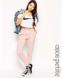ASOS | Pink Basic Joggers With Contrast Tie | Lyst