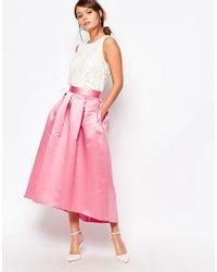 Closet Closet Full Prom Midi Skirt In Sateen in Pink | Lyst