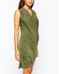John Zack - Natural Wrap Front Mini Dress - Lyst