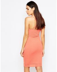 Lipsy - Orange Thick Knit Cami Dress - Lyst