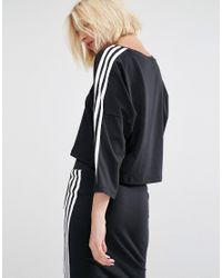 Adidas Originals - Originals Three Stripe Cropped T-shirt - Black - Lyst