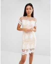 Club L | White Applique Lace Detail Dress With Scallop Edge | Lyst