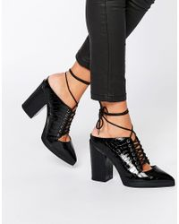 ASOS | Black Overheard Lace Up Mules | Lyst