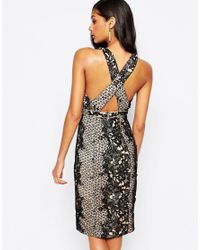 Forever Unique - Black Inca Plunge Front Lace Midi Dress - Lyst