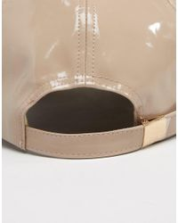 River Island - Pink Patent Faux Leather Cap - Lyst