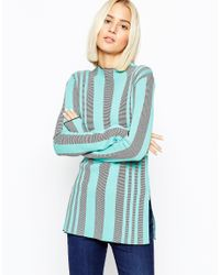 ASOS | Green Tunic In Structured Knit Vertical Stripe | Lyst