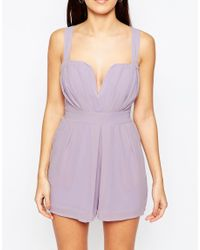 TFNC London - Purple Karen Occasion Playsuit - Lyst