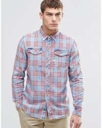 G-Star RAW - Blue Tacoma Red Check Shirt for Men - Lyst