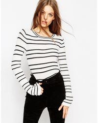 ASOS | Black Striped Jumper In Stuctured Knit With Flared Sleeve | Lyst