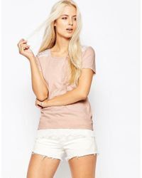 Maison Scotch - Pink Floral Silky Feel T-shirt - Lyst