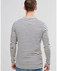 G-Star RAW Blue Prebase Breton Stripe Top Long Sleeve for men