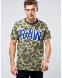 G-Star RAW - Warth Raw Camo Print T-shirt - Green for Men - Lyst