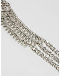 ASOS - Metallic Multi Chain Spike Bracelet - Lyst