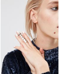 ASOS - Multicolor Articulated Double Finger Ring - Lyst