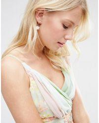 ASOS | Metallic Flower Faux Pearl Swing Earrings | Lyst