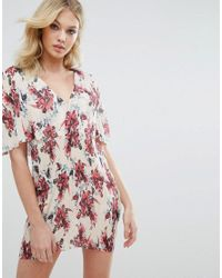 Missguided - Pink Floral Pleated Shift Dress - Lyst