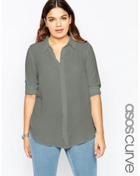 ASOS | Green Curve Casual Blouse | Lyst