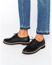 London Rebel | Black Lace Up Flat Brogue Shoes | Lyst