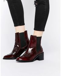 Mango | Red Patent Stud Ankle Boot | Lyst