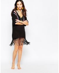 Liquorish - Black Multi Embroidered Tassel T-shirt Dress - Lyst
