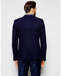 Noak - Blue Textured Navy Tweed Blazer In Super Skinny Fit for Men - Lyst