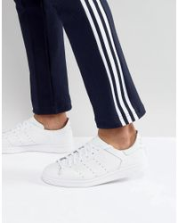 3b26643de Adidas Originals - Stan Smith Leather Sock Trainers In White Bz0230 - Lyst
