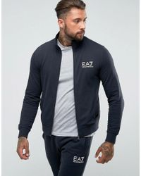 EA7 - Blue Cotton Zip Through Tracksuit Set In Navy for Men - Lyst