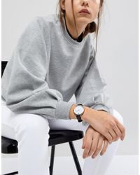 ASOS - Metallic Marble Face Black Strap Watch - Lyst