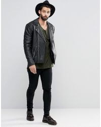 ASOS | Faux Leather Biker Jacket In Black for Men | Lyst