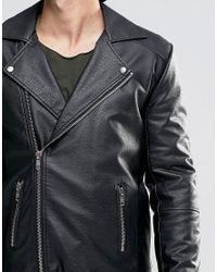 ASOS - Faux Leather Biker Jacket In Black for Men - Lyst