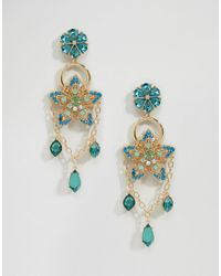 ASOS - Metallic Statement Garden Jewel Drop Earrings - Lyst