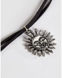 ASOS - Black Rising Sun Choker Necklace - Lyst