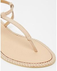 ASOS - Natural Feather Leather Plait Sandals - Lyst