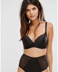 ASOS - Black Fuller Bust Deme Satin Push Up Bra - Lyst