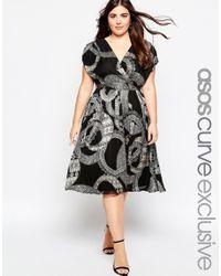 ASOS - Black Curve Wrap Dress In Mono Print - Lyst