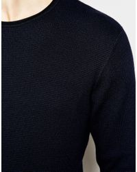 Jack & Jones - Black Knitted Sweater In Mixed Yarns for Men - Lyst