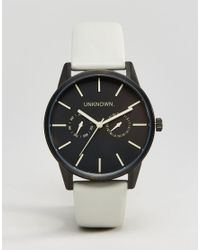 Unknown - Gray Engineered Leather Watch In Grey 39mm - Lyst