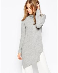 ASOS | Gray Sweater In Blocked Asymmetric With High Neck | Lyst