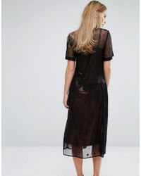 Warehouse - Black Star Embroidered Mesh Dress - Lyst
